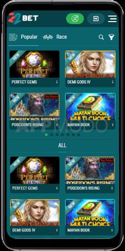 22Bet casino mobile app