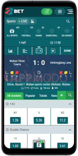 22Bet mobile sports betting